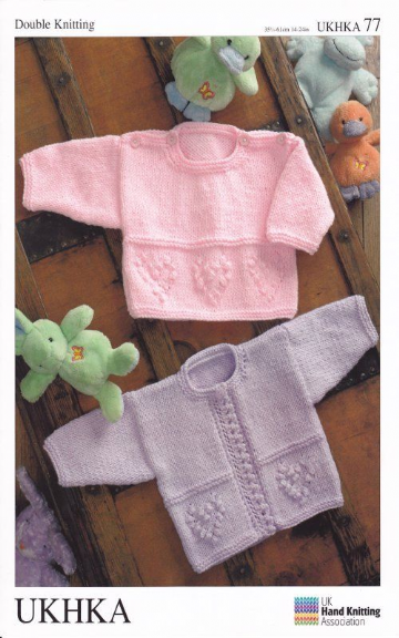 Baby Double Knitting Pattern Long Sleeved Cardigan Sweater Heart Design UKHKA 77